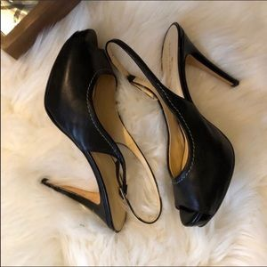 New Kate Spade black slingback peep toe heels 7